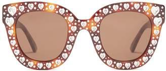 Heart-embellished cat-eye sunglasses