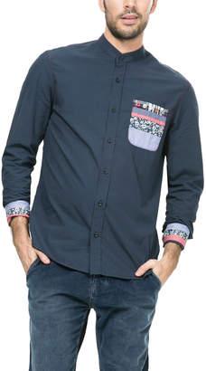 Desigual (デジグアル) - Desigual クレイジー切替 バンドカラー 長袖シャツ ネイビー s