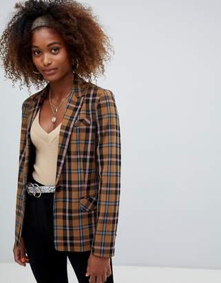 Bershka check print blazer