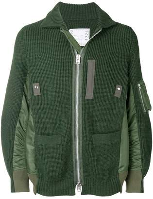 Sacai zipped knit jacket