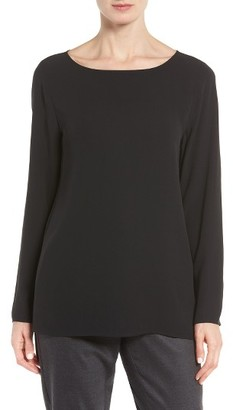 Women's Eileen Fisher Silk Bateau Neck Top $278 thestylecure.com