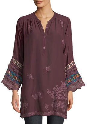 Johnny Was Fayan Patchwork-Sleeve Georgette Tunic