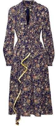 ADAM by Adam Lippes Fringe-Trimmed Metallic Floral-Print Silk-Georgette Midi Dress