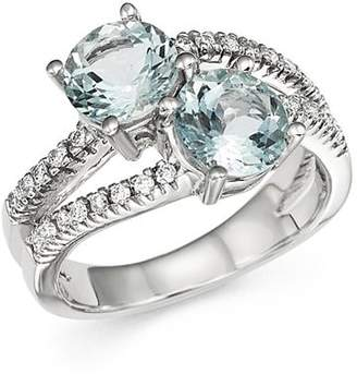 Bloomingdale's Aquamarine and Diamond Two Stone Ring in 14K White Gold - 100% Exclusive