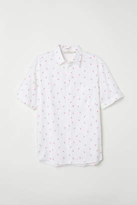 H&M Regular Fit Linen-blend Shirt - White