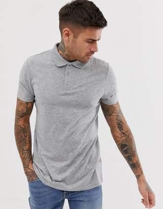 Asos Design DESIGN polo in grey nepp fabric