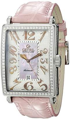 Gevril Avenue of Americas Glamour Womens Diamond Swiss Automatic Rectangle Pink Leather Strap Watch