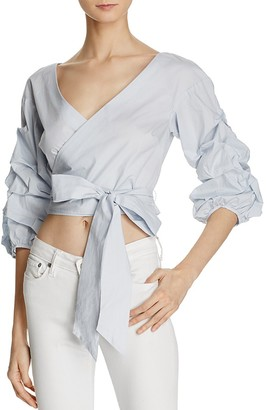 Bardot Poplin Wrap Crop Top - 100% Exclusive $89 thestylecure.com