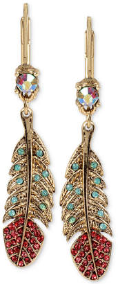 Betsey Johnson Gold-Tone Crystal and Pave Feather Drop Earrings
