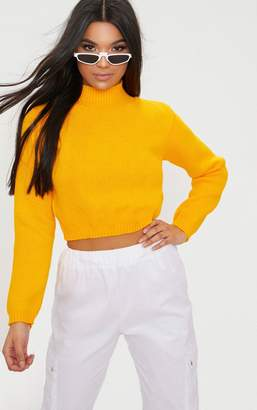 PrettyLittleThing Bright Yellow High Neck Soft Cropped Jumper