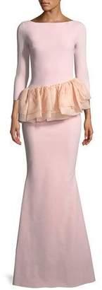 Chiara Boni Glany Mermaid Gown w/ Organza Peplum