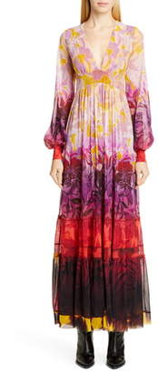 Fuzzi Degrade Floral Long Sleeve Maxi Dress