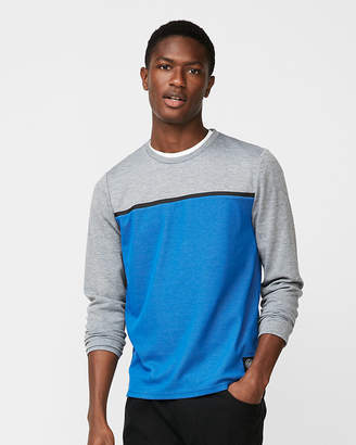 Express Heat Seal Stripe Mesh Crew Neck Tee