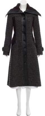 Edun Rib Knit-Trimmed Long Coat