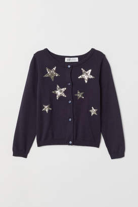 H&M Fine-knit Sequined Cardigan - Blue