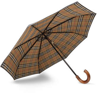 Burberry Maple Wood-Handle Telescopic Umbrella - Men - Black