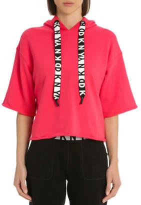 DKNY NEW Boxy Hooded Short Sleeve Logo Sweatshirt Red