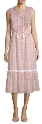 Kate Spade Arrow Stripe Lace-Up Cotton Midi Dress