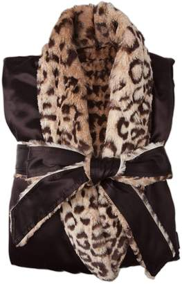 Giraffe at Home Faux Fur & Satin Robe