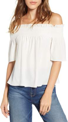 7 For All Mankind Off the Shoulder Smocked Silk Top