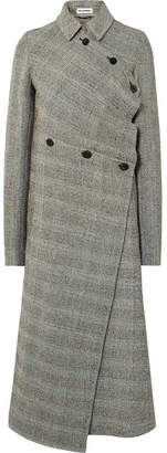 Jil Sander Asymmetric Prince Of Wales Checked Wool-blend Coat - Gray