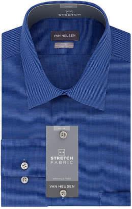 Van Heusen Flex Cool Collar Long Sleeve Twill Pattern Dress Shirt