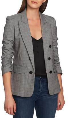 1 STATE 1.STATE Ruched Sleeve Glen Plaid Blazer