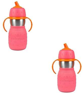 Kid Basix Stainless Steel Safe Sippy Cup 11 Ounce Bottle, Pink (2 Pack)