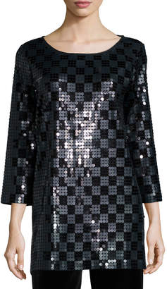 Joan Vass 3/4-Sleeve Square Sequined Tunic