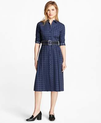 Brooks Brothers Dobby Checked Oxford Shirtdress