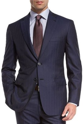 Brioni Multi-Stripe Super 150s Wool Two-Piece Suit, Navy $5,750 thestylecure.com