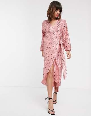 Pretty Lavish wrap midi dress in polka dot