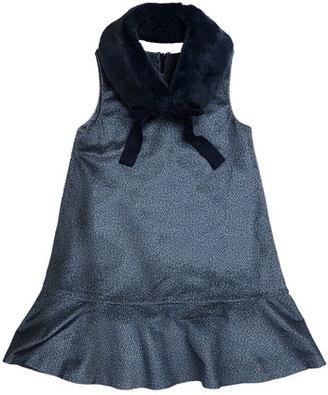 Imoga Penelope Velour Drop-Waist Faux-Fur Collar Dress, Blue, Size 8-14 $116 thestylecure.com