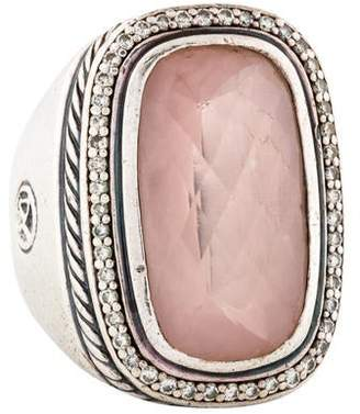 David Yurman Rose Quartz & Diamond Cocktail Ring