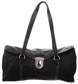 prada Prada Leather-Trimmed Shoulder Bag