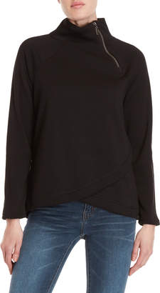 Cable & Gauge Zip Mock Neck Fleece Sweatshirt