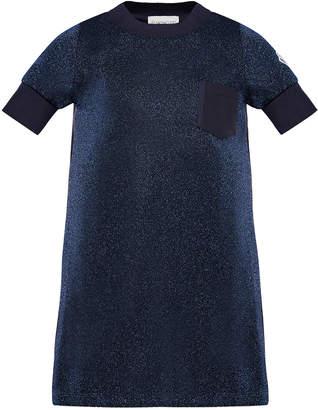 Moncler Short-Sleeve Metallic Knit Dress, Size 4-6