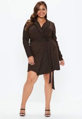Missguided Plus Size Bronze Sparkle Blazer Dress