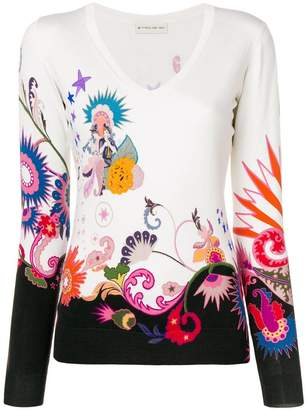 Etro paisley & flower knit sweater