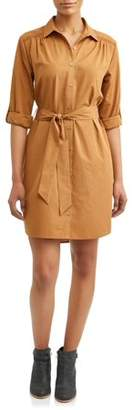 Time and Tru Women's Roll Tab Shirt Dress