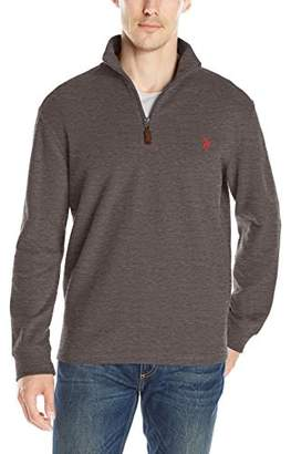 U.S. Polo Assn. Men's 1/4 Zip Mock Neck Flat Back Rib Pullover