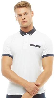 Fluid Mens Jersey Polo With Woven Collar White
