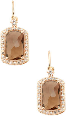 Suzanne Kalan 0.50 Tcw White Sapphire & Smokey Quartz 14K Rose Gold Earring Barrel Cut Earrings