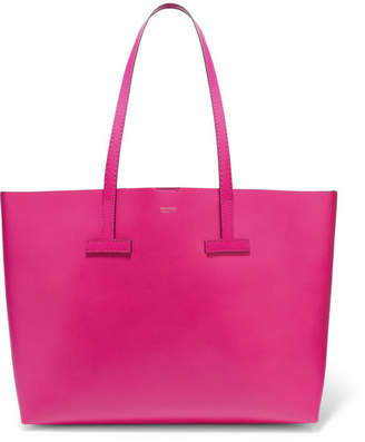 Tom Ford T Medium Textured-leather Tote - Bright pink