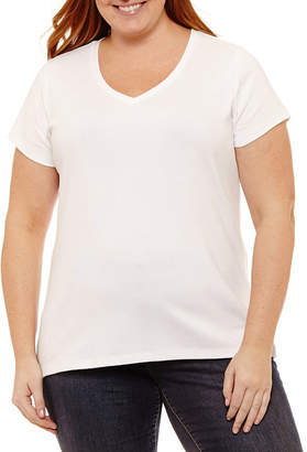 ST. JOHN'S BAY Short Sleeve V-Neck Tee - Plus