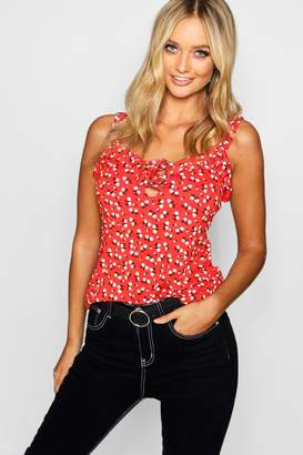 boohoo Ditsy Floral Ruffle Lace Up Cami