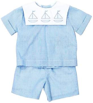 Bailey Boys Sailboat Shadow-Stitched Short-Set