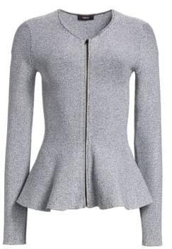 Theory Marled Peplum Zip Jacket