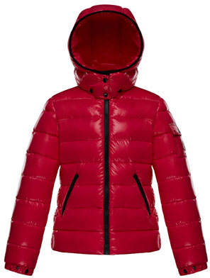 Moncler Bady Fitted Puffer Jacket, Fuchsia, Size 4-6
