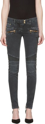 Balmain Black Distressed Biker Jeans $1,325 thestylecure.com